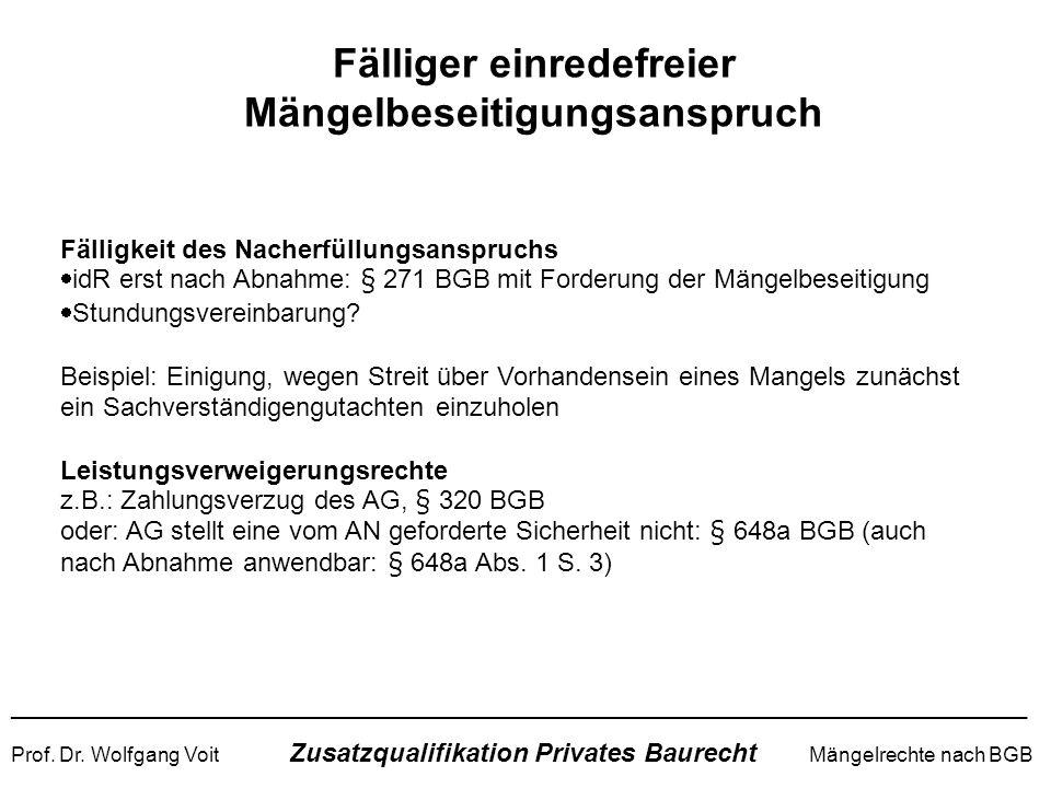 ______________________________________________________________________ Prof. Dr. Wolfgang Voit Zusatzqualifikation Privates Baurecht Mängelrechte nach