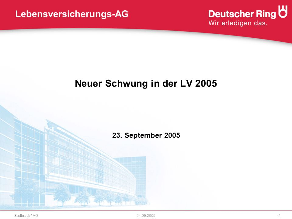Neuer Schwung in der LV 2005 23.09.2005Sudbrack / VO2 Agenda Ausgangssituation Deutscher Ring mit neuem Marktauftritt Neue LV-Produkte 2005 Produktlinie RingStrategiePolicen RingBasisRentesprint
