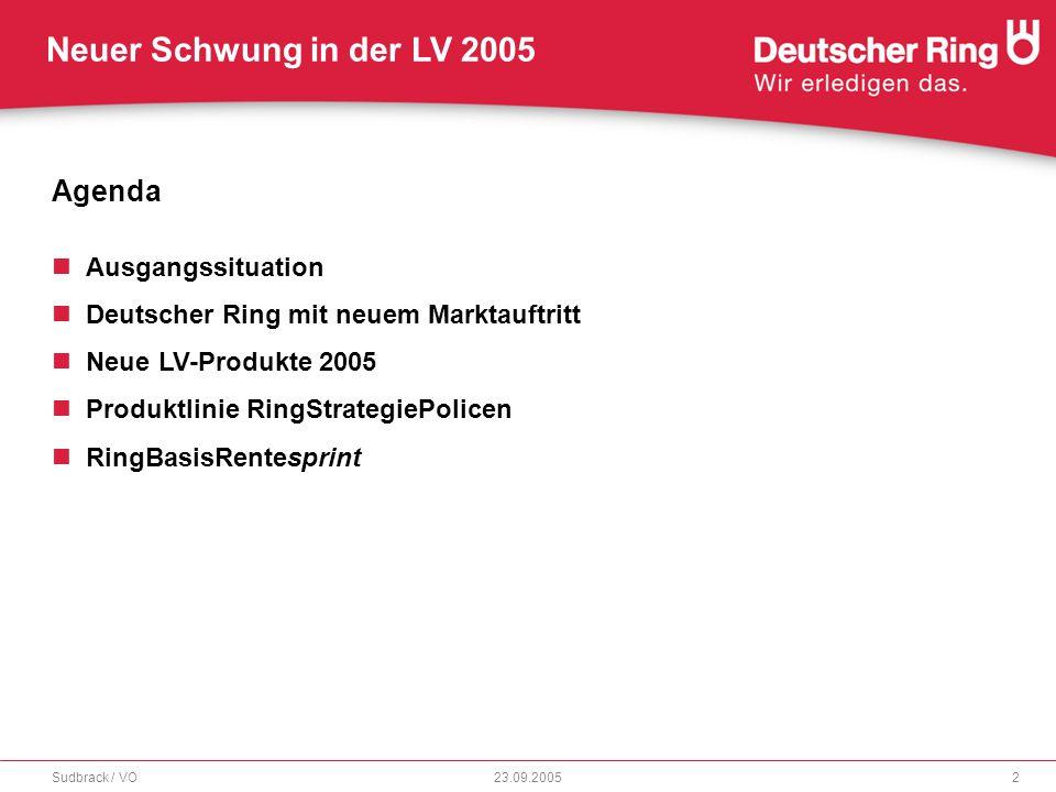 """Neuer Schwung in der LV 2005 23.09.2005Sudbrack / VO3 Ausgangsituation Deutschland steht vor einer Neuordnung der sozialen Sicherung """"Zusätzliche kapitalgedeckte Altersvorsorge wird gefördert. """"Wirkliche Herausforderungen stehen erst noch bevor. """"GRV entwickelt sich zur Basisab- sicherung. """"Halbherzige Veränderungen lehnen wir ab. """"Das Rentensystem ist gefährdet. Fazit: Private Vorsorge und Initiative ist wichtiger denn je."""