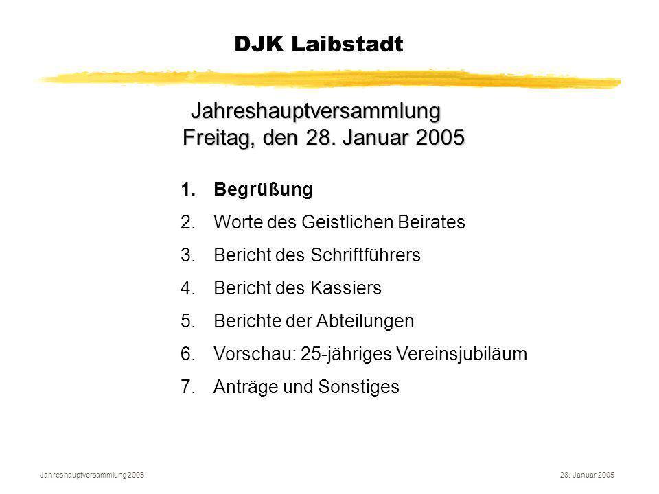 Jahreshauptversammlung 200528. Januar 2005 DJK Laibstadt Jahreshauptversammlung Freitag, den 28. Januar 2005 1.Begrüßung 2.Worte des Geistlichen Beira