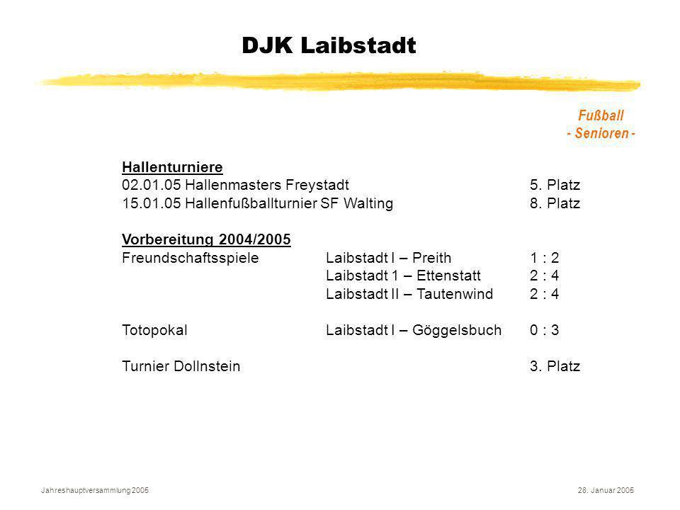 Jahreshauptversammlung 200528. Januar 2005 DJK Laibstadt Fußball - Senioren - Hallenturniere 02.01.05 Hallenmasters Freystadt5. Platz 15.01.05 Hallenf