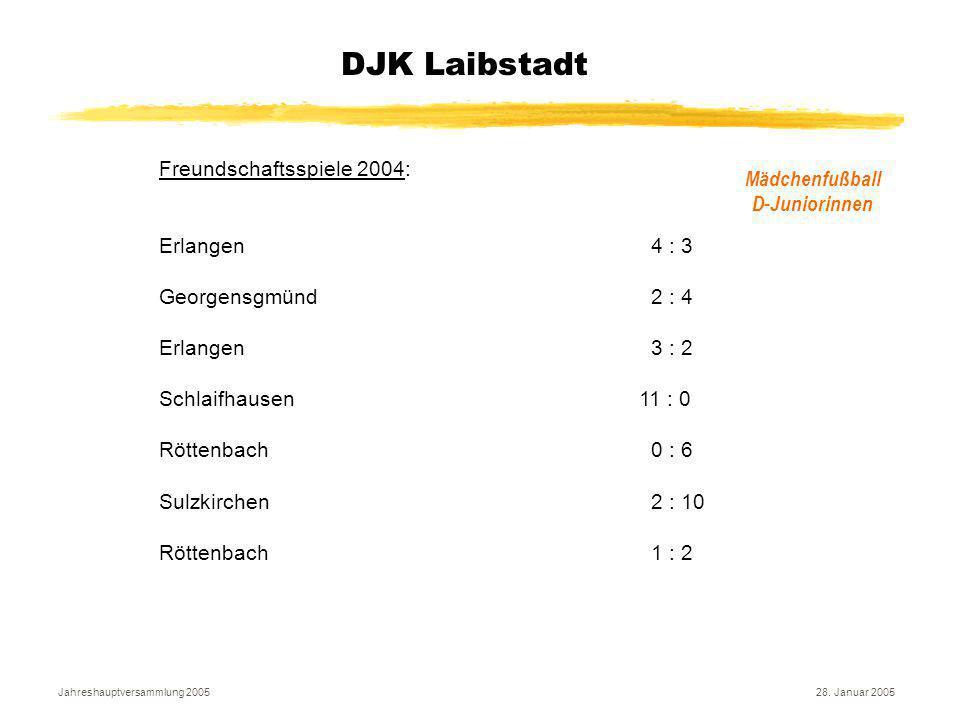 Jahreshauptversammlung 200528. Januar 2005 DJK Laibstadt Mädchenfußball D-Juniorinnen Freundschaftsspiele 2004: Erlangen 4 : 3 Georgensgmünd 2 : 4 Erl