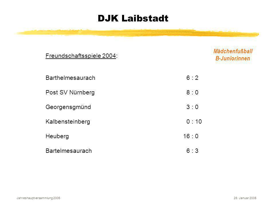Jahreshauptversammlung 200528. Januar 2005 DJK Laibstadt Mädchenfußball B-Juniorinnen Freundschaftsspiele 2004: Barthelmesaurach 6 : 2 Post SV Nürnber