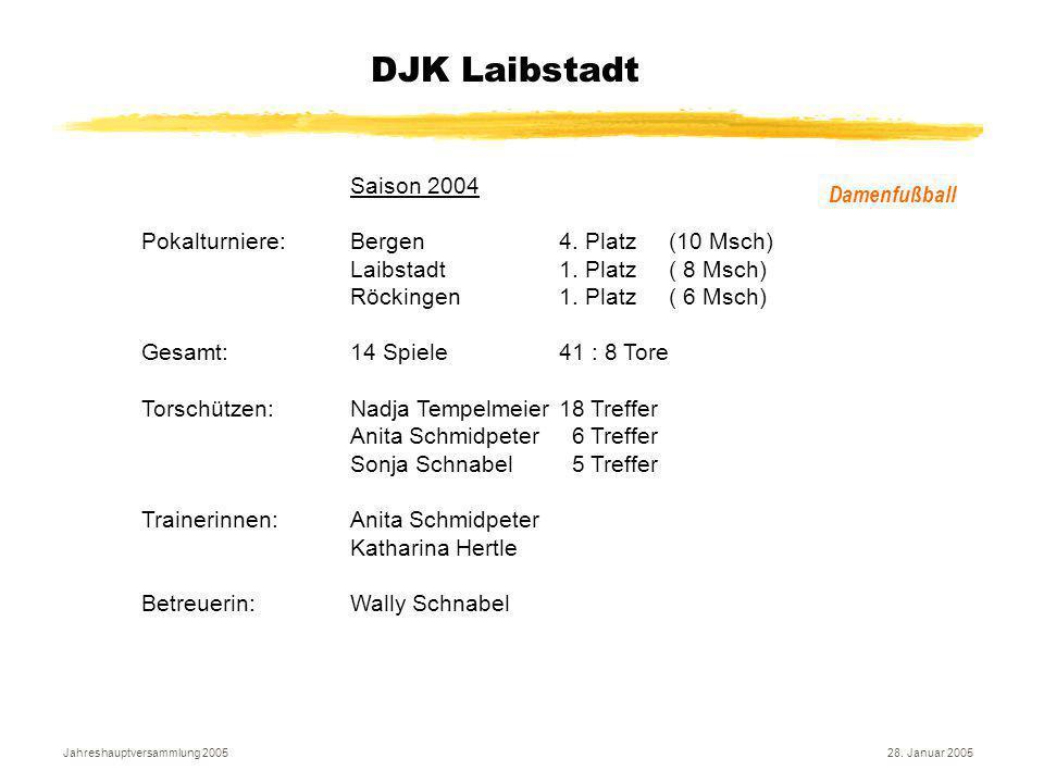 Jahreshauptversammlung 200528. Januar 2005 DJK Laibstadt Damenfußball Saison 2004 Pokalturniere:Bergen 4. Platz (10 Msch) Laibstadt 1. Platz ( 8 Msch)