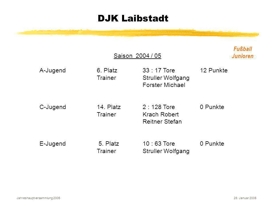 Jahreshauptversammlung 200528. Januar 2005 DJK Laibstadt Fußball Junioren Saison 2004 / 05 A-Jugend6. Platz33 : 17 Tore12 Punkte Trainer Struller Wolf