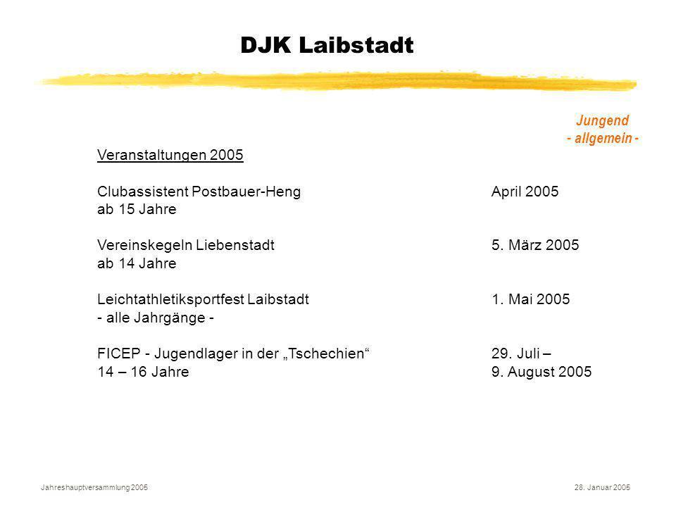 Jahreshauptversammlung 200528. Januar 2005 DJK Laibstadt Jungend - allgemein - Veranstaltungen 2005 Clubassistent Postbauer-HengApril 2005 ab 15 Jahre