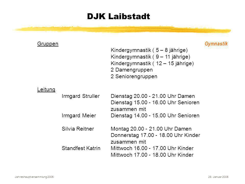 Jahreshauptversammlung 200528. Januar 2005 DJK Laibstadt Gymnastik Gruppen Kindergymnastik ( 5 – 8 jährige) Kindergymnastik ( 9 – 11 jährige) Kindergy
