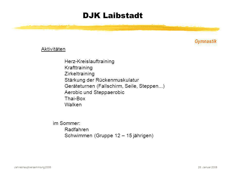 Jahreshauptversammlung 200528. Januar 2005 DJK Laibstadt Gymnastik Aktivitäten Herz-Kreislauftraining Krafttraining Zirkeltraining Stärkung der Rücken