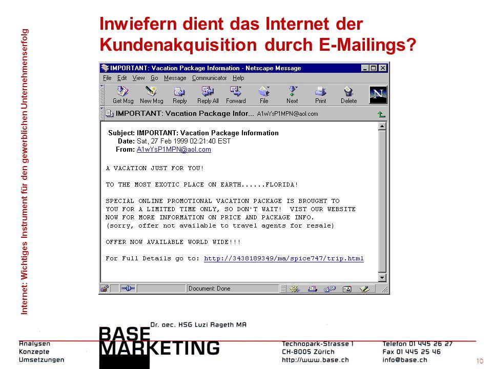 Internet: Wichtiges Instrument für den gewerblichen Unternehmenserfolg 9 Inwiefern dient das Internet der Kundenakquisition durch Search-Engines?