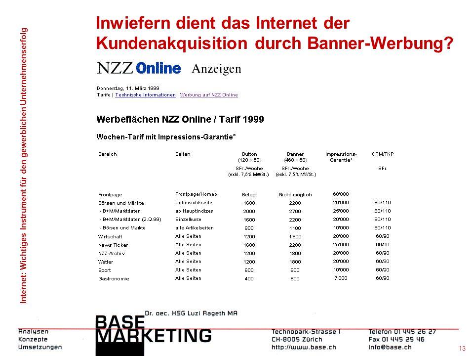 Internet: Wichtiges Instrument für den gewerblichen Unternehmenserfolg 12 Inwiefern dient das Internet der Kundenakquisition durch Banner-Werbung?