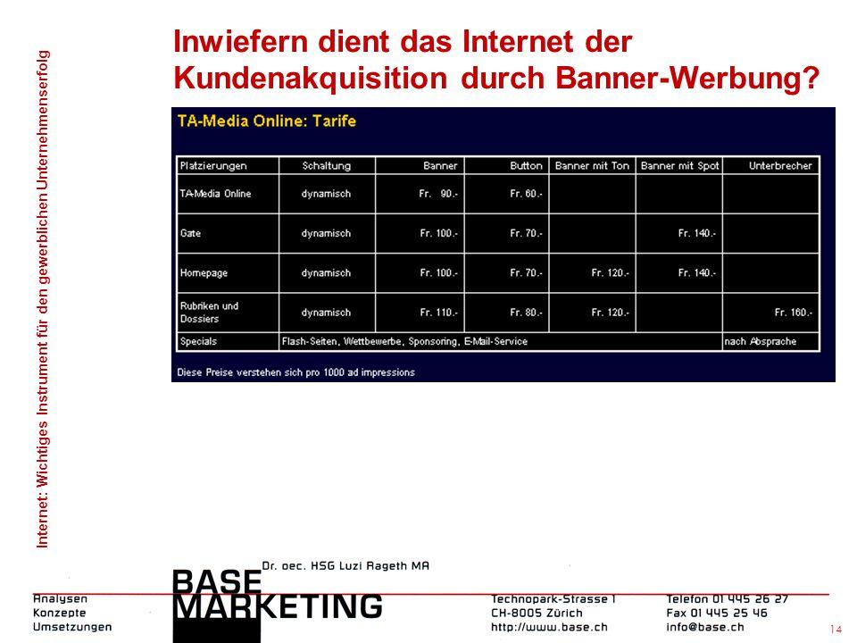 Internet: Wichtiges Instrument für den gewerblichen Unternehmenserfolg 13 Inwiefern dient das Internet der Kundenakquisition durch Banner-Werbung?
