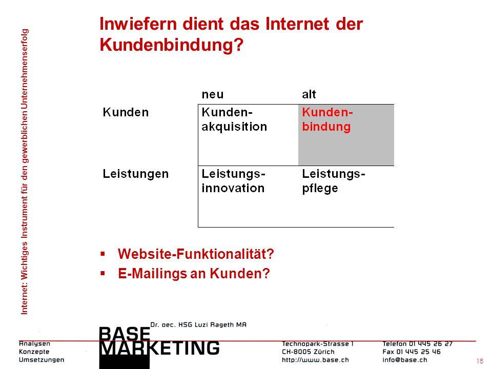Internet: Wichtiges Instrument für den gewerblichen Unternehmenserfolg 17 Inwiefern dient das Internet der Kundenakquisition durch Banner-Werbung?