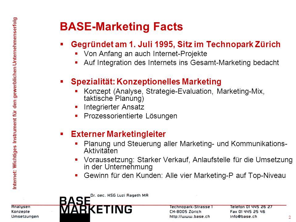 Internet: Wichtiges Instrument für den gewerblichen Unternehmenserfolg 1 Werbung und Marketing: Worauf muss geachtet werden? Luzi Rageth, Dr. oec. HSG