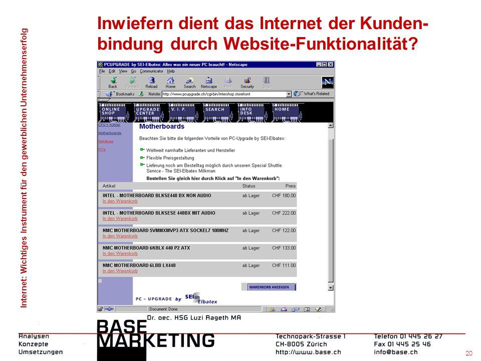 Internet: Wichtiges Instrument für den gewerblichen Unternehmenserfolg 19 Inwiefern dient das Internet der Kunden- bindung durch Website-Funktionalitä