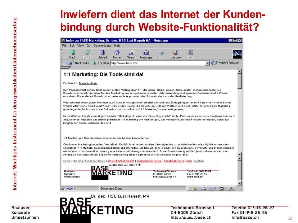 Internet: Wichtiges Instrument für den gewerblichen Unternehmenserfolg 20 Inwiefern dient das Internet der Kunden- bindung durch Website-Funktionalitä