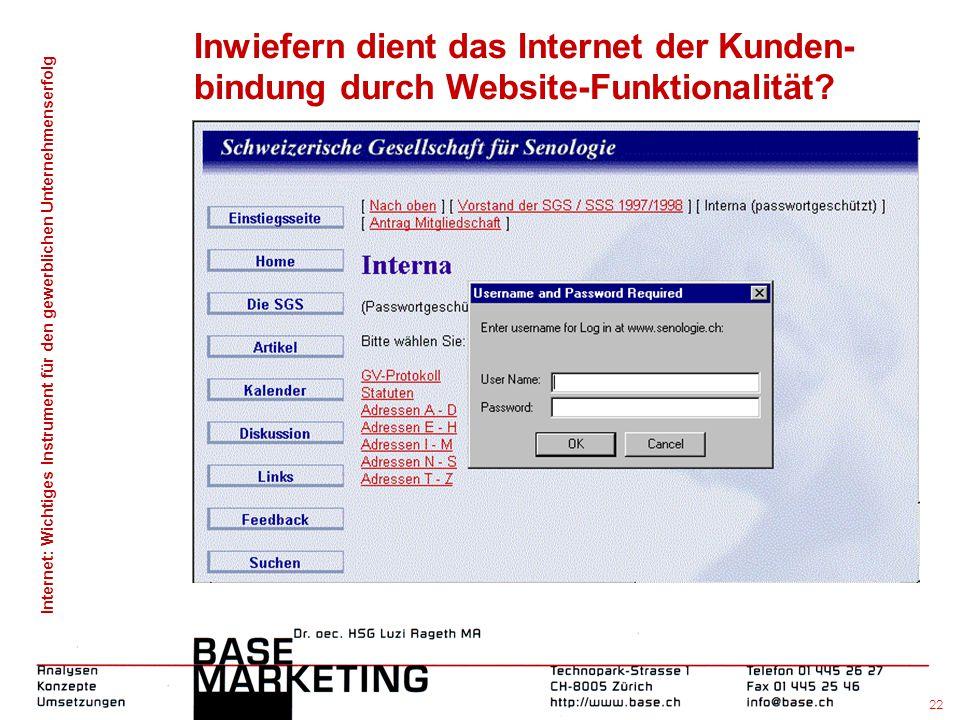 Internet: Wichtiges Instrument für den gewerblichen Unternehmenserfolg 21 Inwiefern dient das Internet der Kunden- bindung durch Website-Funktionalitä