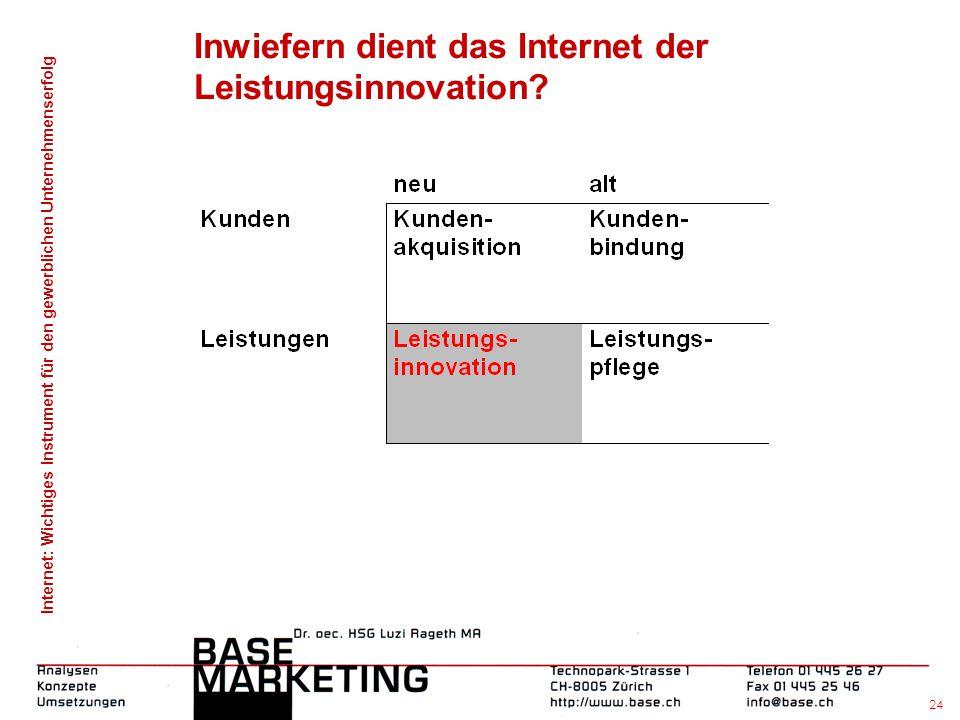 Internet: Wichtiges Instrument für den gewerblichen Unternehmenserfolg 23 Inwiefern dient das Internet der Kunden- bindung durch E-Mailings an Kunden?