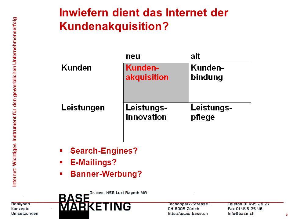 Internet: Wichtiges Instrument für den gewerblichen Unternehmenserfolg 5 Inwiefern dient das Internet... ... der Kundenakquisition?  Search-Engines?