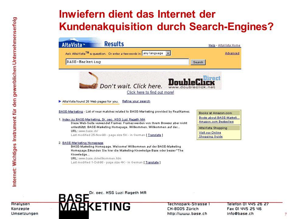 Internet: Wichtiges Instrument für den gewerblichen Unternehmenserfolg 6 Inwiefern dient das Internet der Kundenakquisition?  Search-Engines?  E-Mai