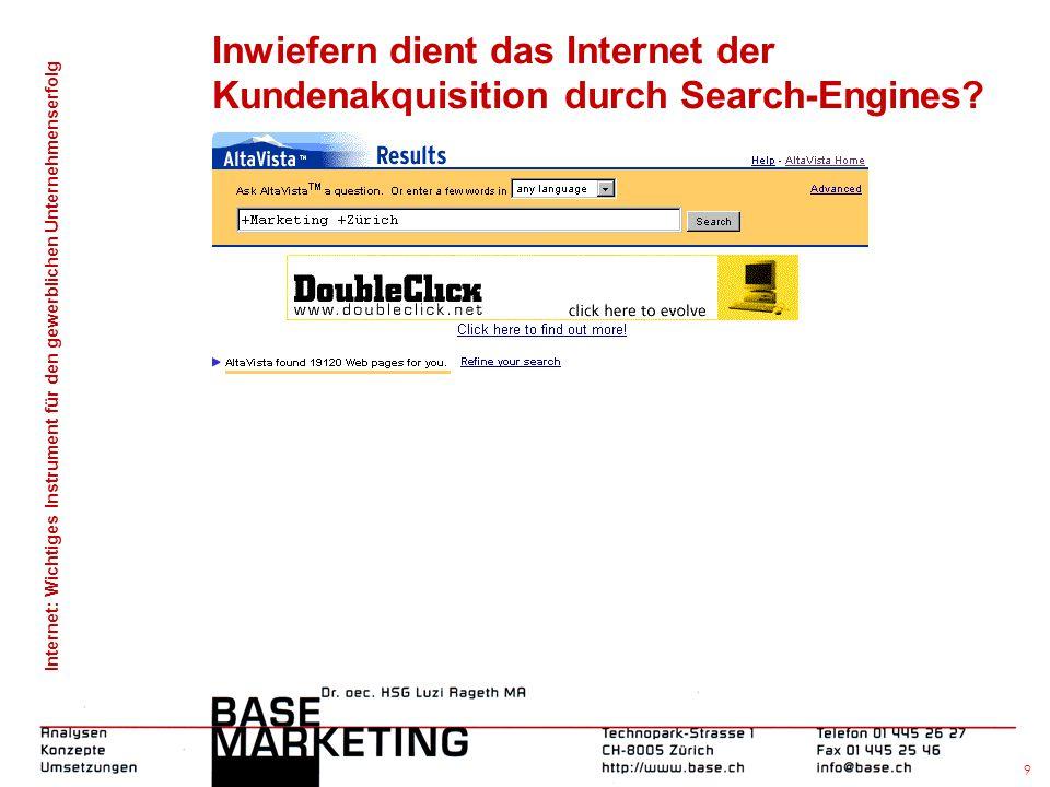 Internet: Wichtiges Instrument für den gewerblichen Unternehmenserfolg 8 Inwiefern dient das Internet der Kundenakquisition durch Search-Engines?