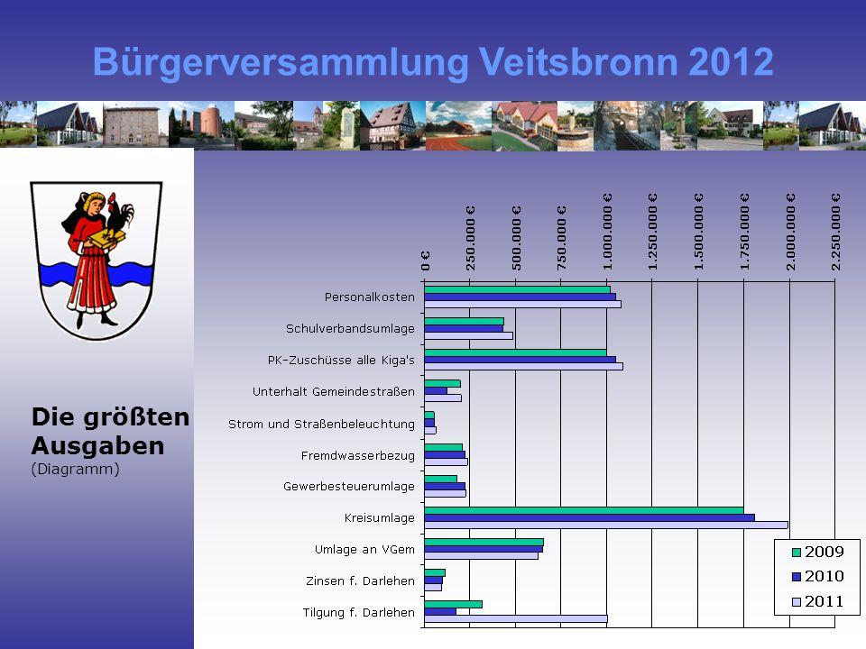 Bürgerversammlung Veitsbronn 2012 Die größten Ausgaben (Diagramm)