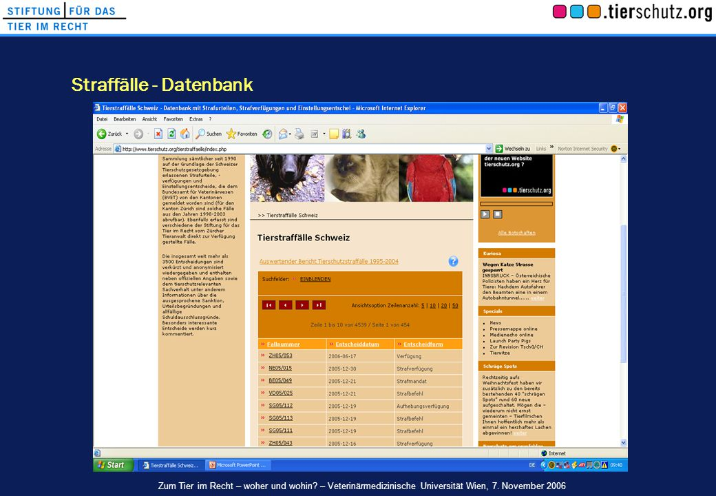 Straffälle - Datenbank Zum Tier im Recht – woher und wohin? – Veterinärmedizinische Universität Wien, 7. November 2006