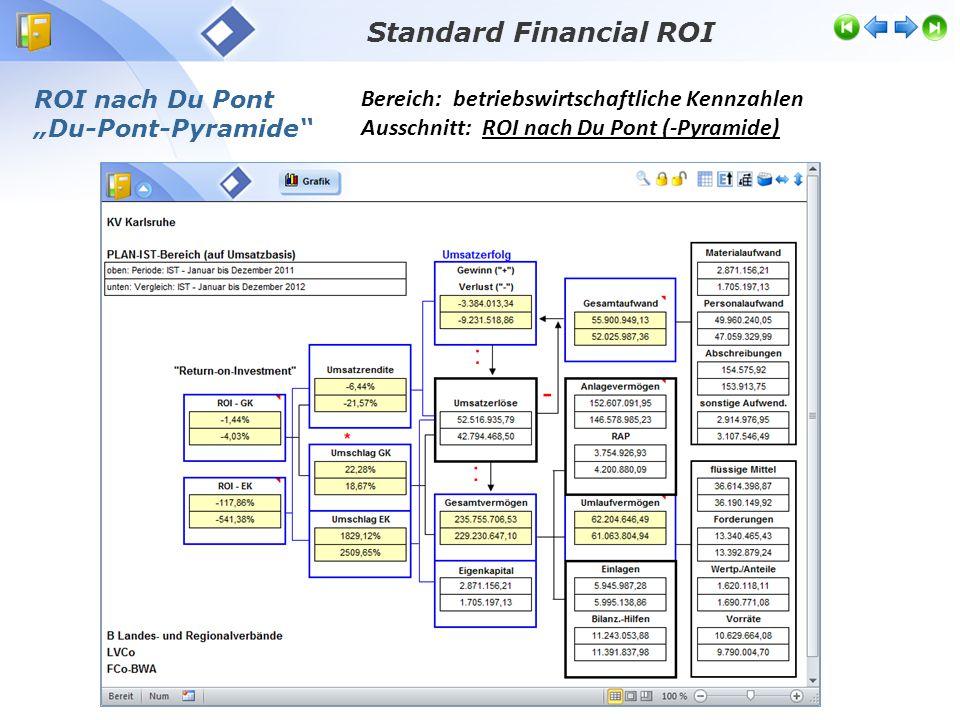 """Bereich: betriebswirtschaftliche Kennzahlen Ausschnitt: ROI nach Du Pont (-Pyramide) Standard Financial ROI ROI nach Du Pont """"Du-Pont-Pyramide"""""""