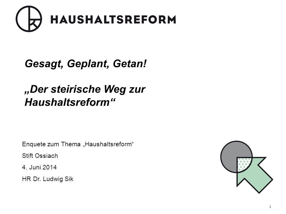 """Gesagt, Geplant, Getan! """"Der steirische Weg zur Haushaltsreform"""" Enquete zum Thema """"Haushaltsreform"""" Stift Ossiach 4. Juni 2014 HR Dr. Ludwig Sik 1"""
