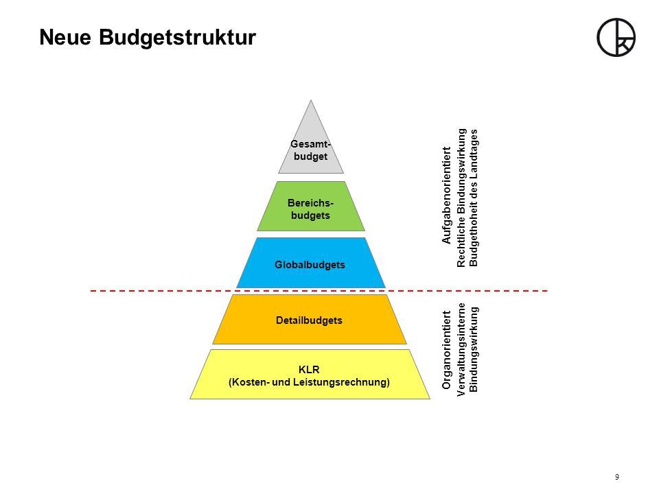Neue Budgetstruktur Rechtliche Bindungswirkung Budgethoheit des Landtages Verwaltungsinterne Bindungswirkung Aufgabenorientiert Organorientiert Bereic