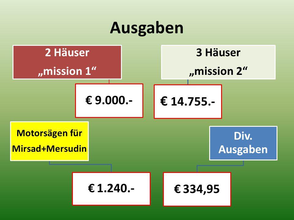 """Ausgaben 2 Häuser """"mission 1"""" € 9.000.- Motorsägen für Mirsad+Mersudin € 1.240.- 3 Häuser """"mission 2"""" € 14.755.- Div. Ausgaben € 334,95"""