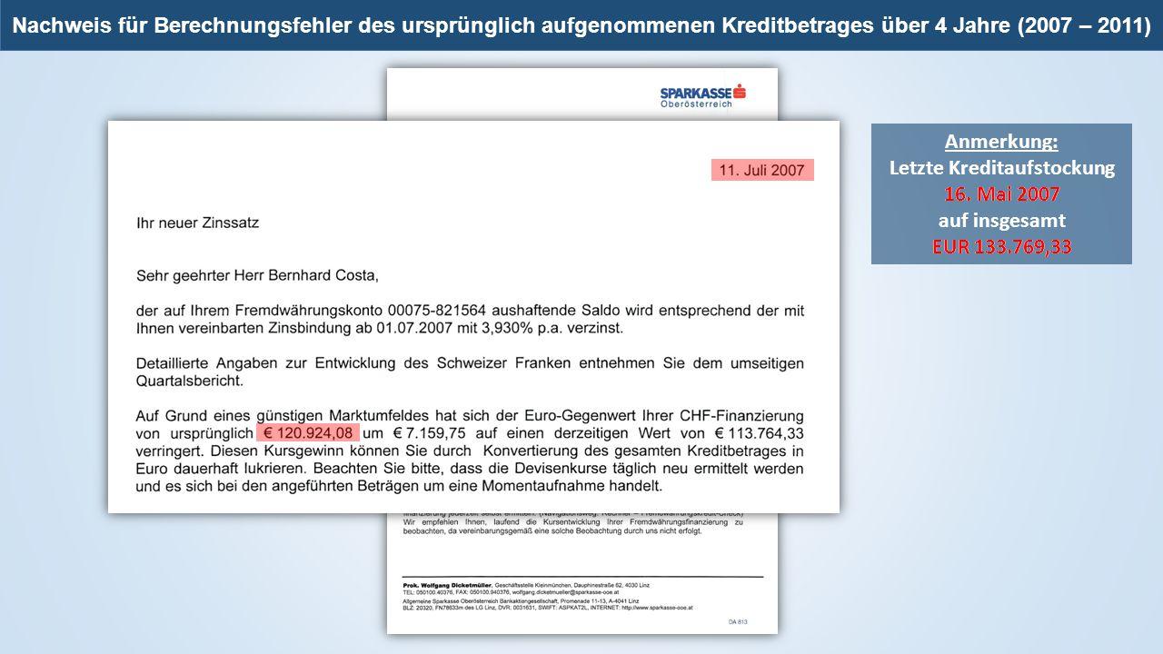 Anmerkung: Letzte Kreditaufstockung 16. Mai 2007 auf insgesamt EUR 133.769,33 16. Mai 2007 EUR 133.769,33 Nachweis für Berechnungsfehler des ursprüngl