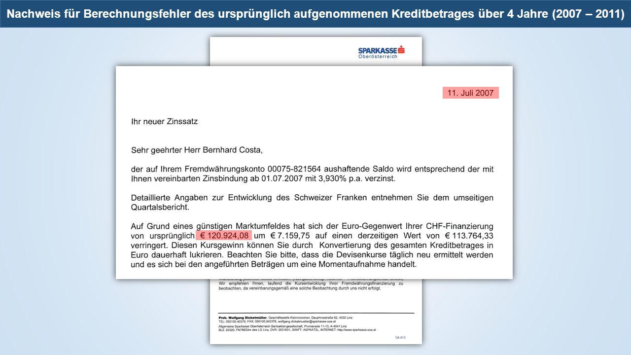 Nachweis für Berechnungsfehler des ursprünglich aufgenommenen Kreditbetrages über 4 Jahre (2007 – 2011)