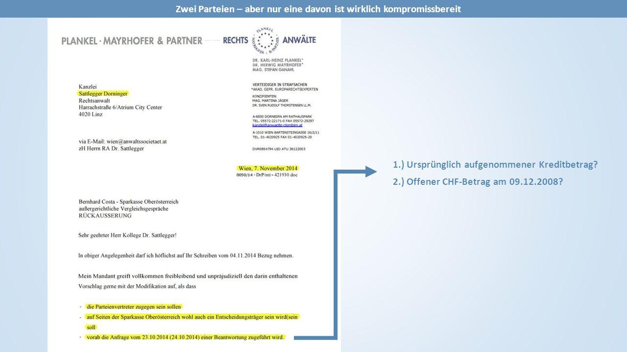 1.) Ursprünglich aufgenommener Kreditbetrag? 2.) Offener CHF-Betrag am 09.12.2008?