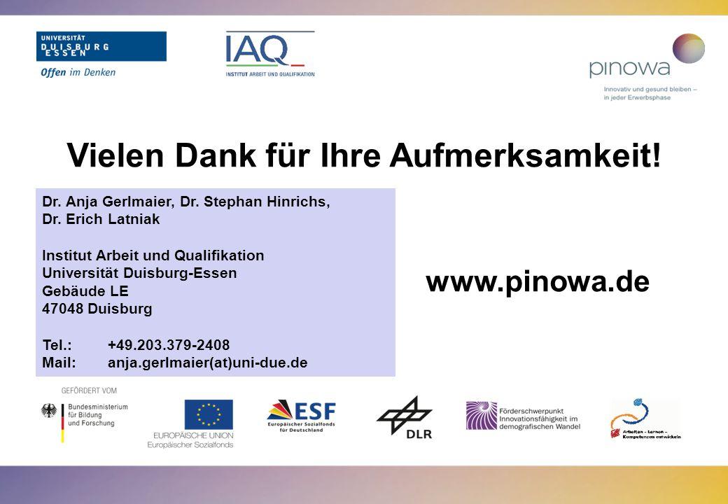 www.pinowa.de Vielen Dank für Ihre Aufmerksamkeit! Dr. Anja Gerlmaier, Dr. Stephan Hinrichs, Dr. Erich Latniak Institut Arbeit und Qualifikation Unive