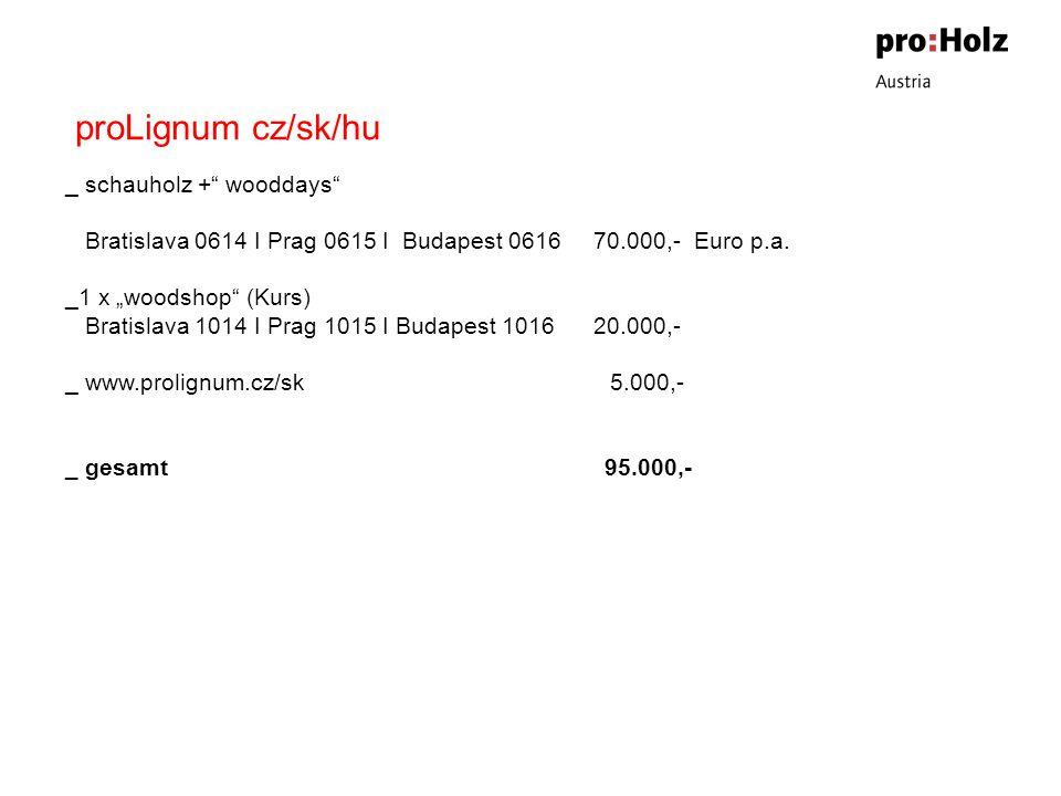 proLignum cz/sk/hu _ schauholz + wooddays Bratislava 0614 I Prag 0615 I Budapest 0616 70.000,- Euro p.a.