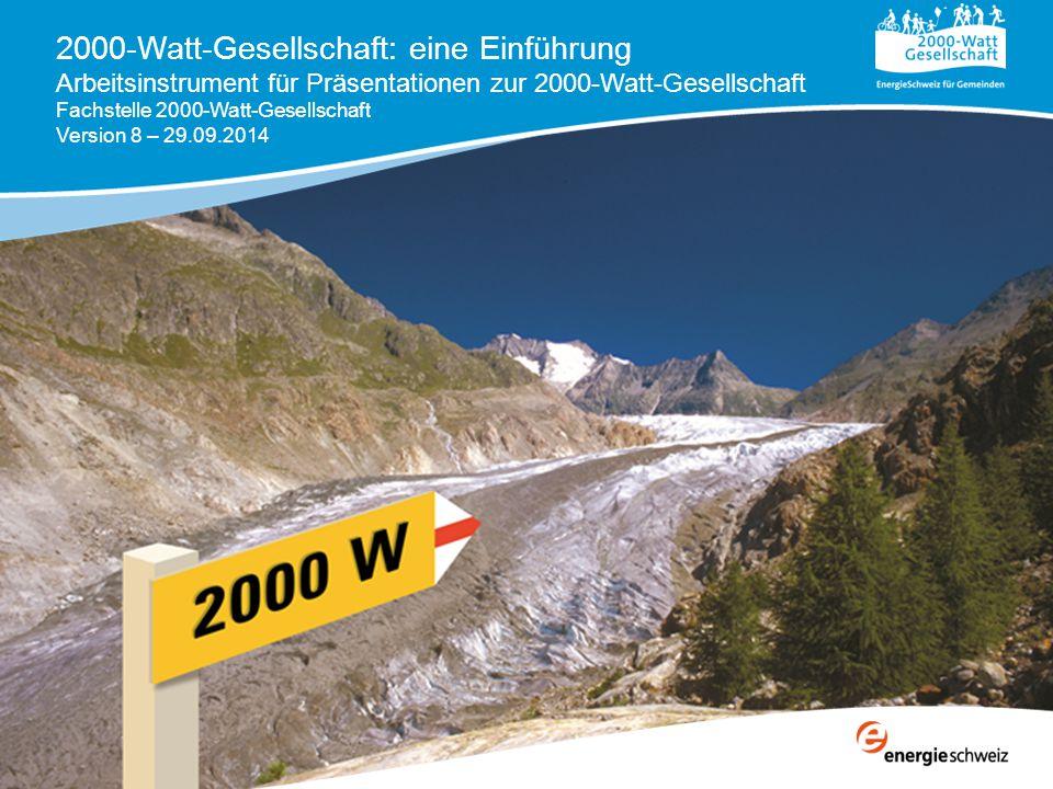 2000-Watt-Gesellschaft Grundsätzliche und übergeordnete Ziele für die Schweiz  3 mal weniger Energieverbrauch  8 mal weniger CO2-Ausstoss und zwar für alle: Haushalte, Städte, Gemeinden, Kantone Gewerbe, Industrie Gebäude, Mobilität, Wärme, Strom
