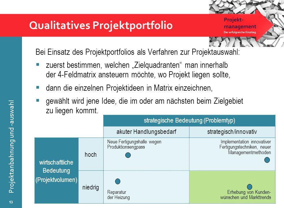 © Wytrzens Projektanbahnung und -auswahl Qualitatives Projektportfolio Bei Einsatz des Projektportfolios als Verfahren zur Projektauswahl:  zuerst be