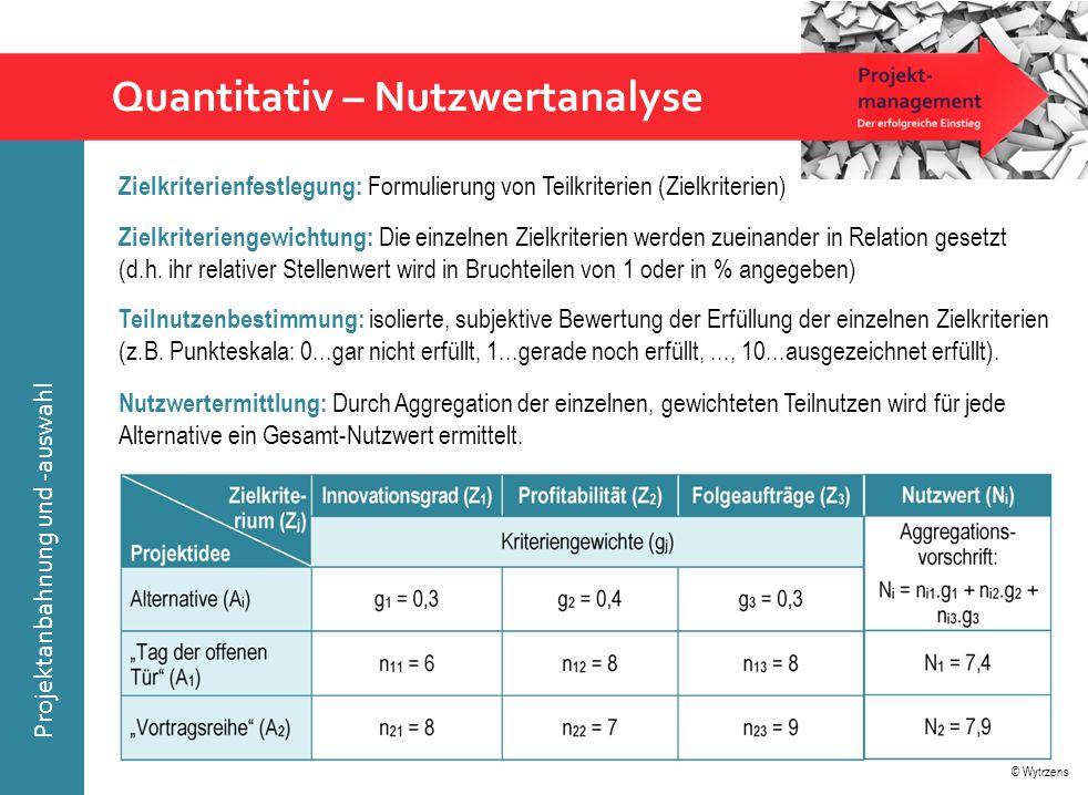 © Wytrzens Projektanbahnung und -auswahl Quantitativ – Nutzwertanalyse Zielkriteriengewichtung: Die einzelnen Zielkriterien werden zueinander in Relat