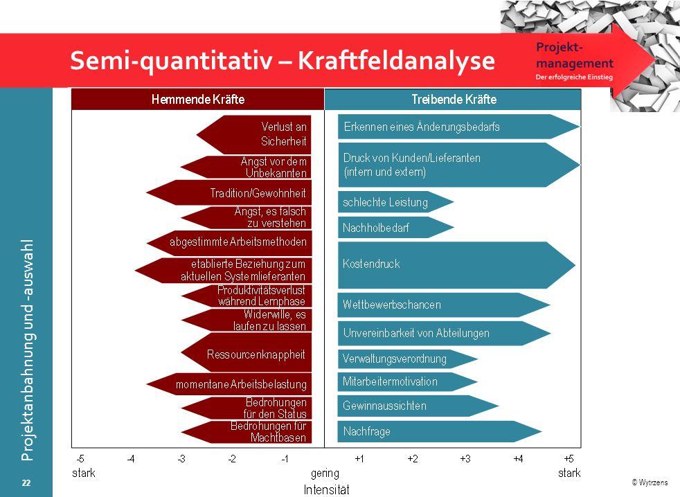 © Wytrzens Projektanbahnung und -auswahl Semi-quantitativ – Kraftfeldanalyse 22