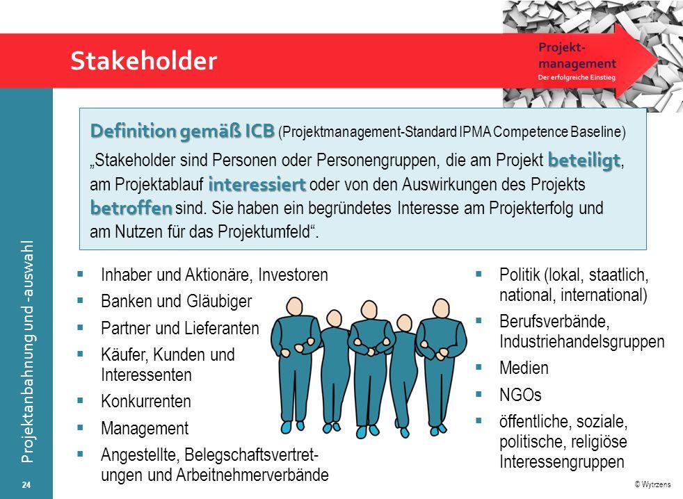 © Wytrzens Projektanbahnung und -auswahl Stakeholder 24  Inhaber und Aktionäre, Investoren  Banken und Gläubiger  Partner und Lieferanten  Käufer,