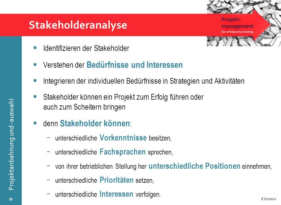 © Wytrzens Projektanbahnung und -auswahl Stakeholderanalyse  Identifizieren der Stakeholder  Verstehen der Bedürfnisse und Interessen  Integrieren
