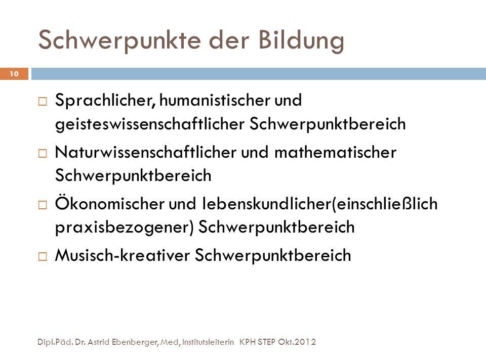 Schwerpunkte der Bildung Dipl.Päd. Dr. Astrid Ebenberger, Med, Institutsleiterin KPH STEP Okt.2012 10  Sprachlicher, humanistischer und geisteswissen