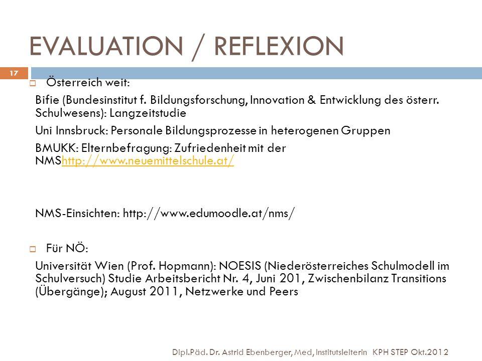 EVALUATION / REFLEXION Dipl.Päd. Dr. Astrid Ebenberger, Med, Institutsleiterin KPH STEP Okt.2012 17  Österreich weit: Bifie (Bundesinstitut f. Bildun