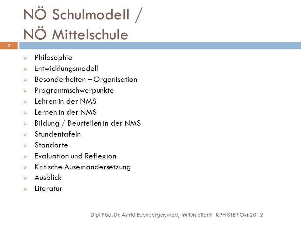 NÖ Schulmodell / NÖ Mittelschule Dipl.Päd. Dr. Astrid Ebenberger, Med, Institutsleiterin KPH STEP Okt.2012 2  Philosophie  Entwicklungsmodell  Beso