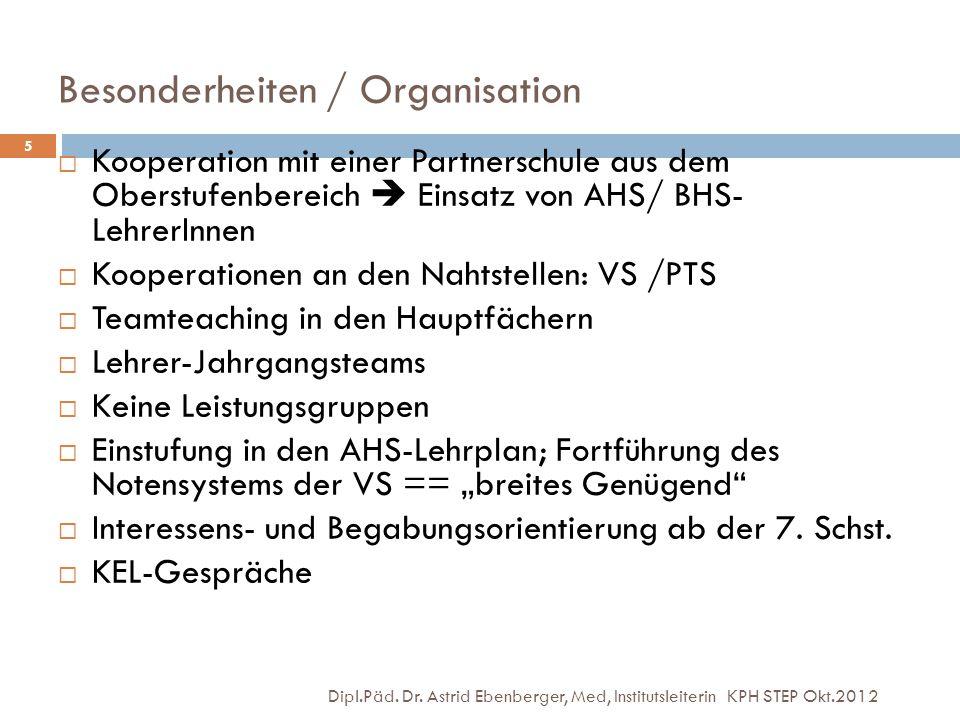 Besonderheiten / Organisation Dipl.Päd. Dr. Astrid Ebenberger, Med, Institutsleiterin KPH STEP Okt.2012 5  Kooperation mit einer Partnerschule aus de