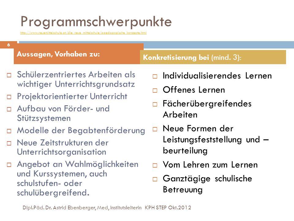 Programmschwerpunkte http://www.neuemittelschule.at/die_neue_mittelschule/paedagogische_konzepte.html http://www.neuemittelschule.at/die_neue_mittelsc