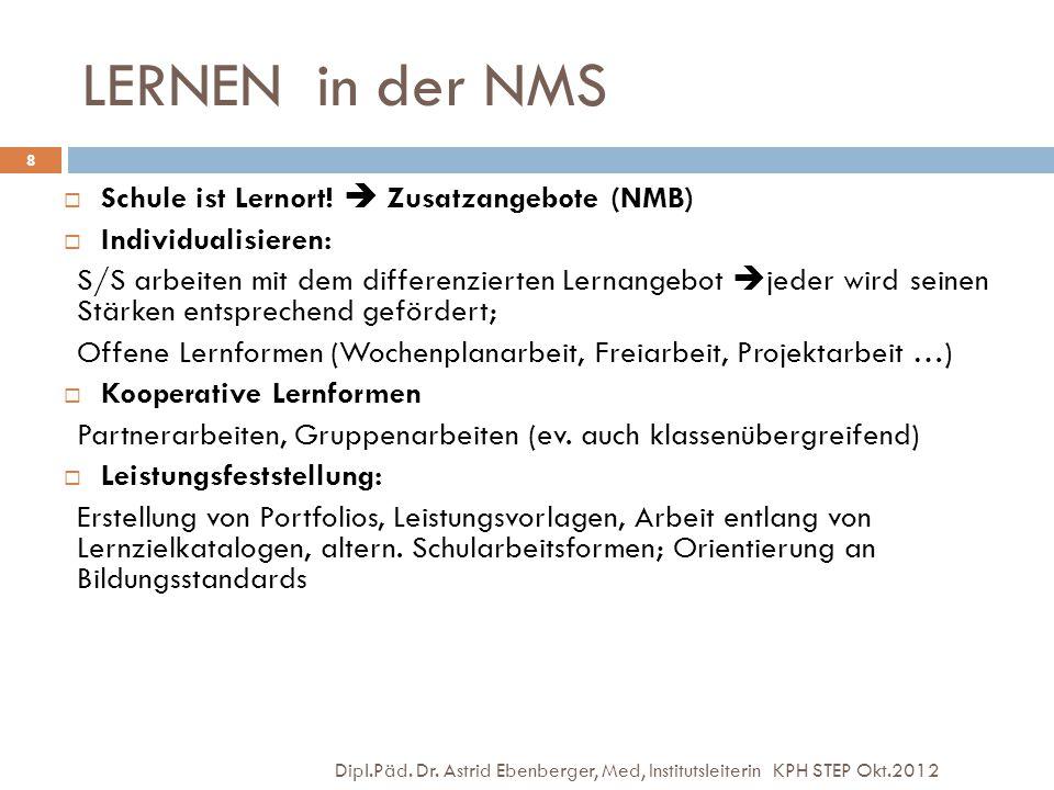 LERNEN in der NMS Dipl.Päd. Dr. Astrid Ebenberger, Med, Institutsleiterin KPH STEP Okt.2012 8  Schule ist Lernort!  Zusatzangebote (NMB)  Individua