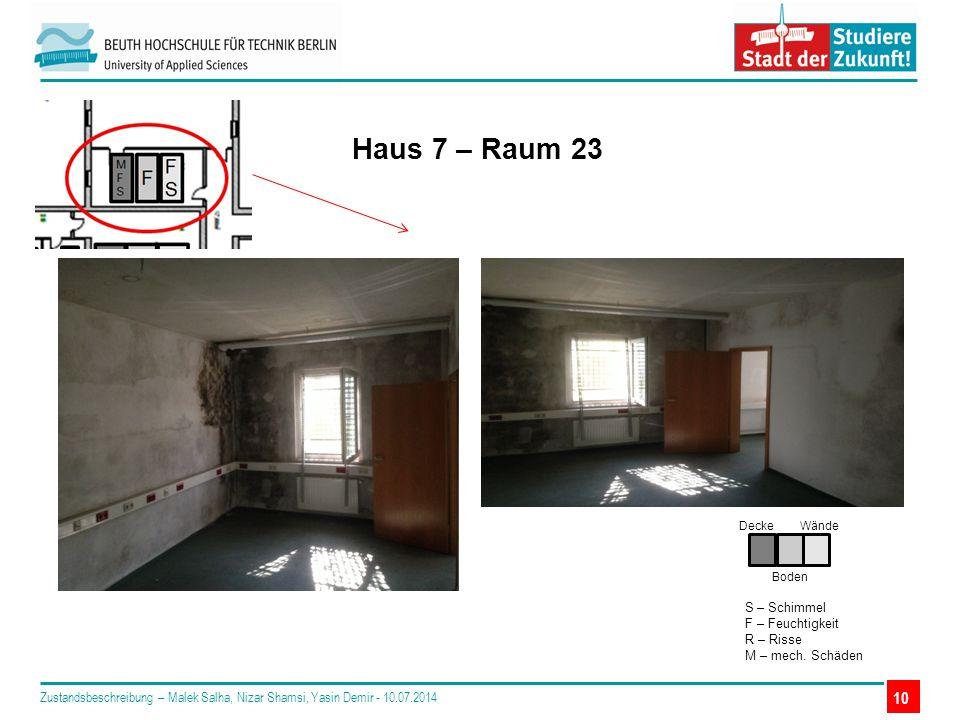 10 Haus 7 – Raum 23 Decke Boden Wände S – Schimmel F – Feuchtigkeit R – Risse M – mech.