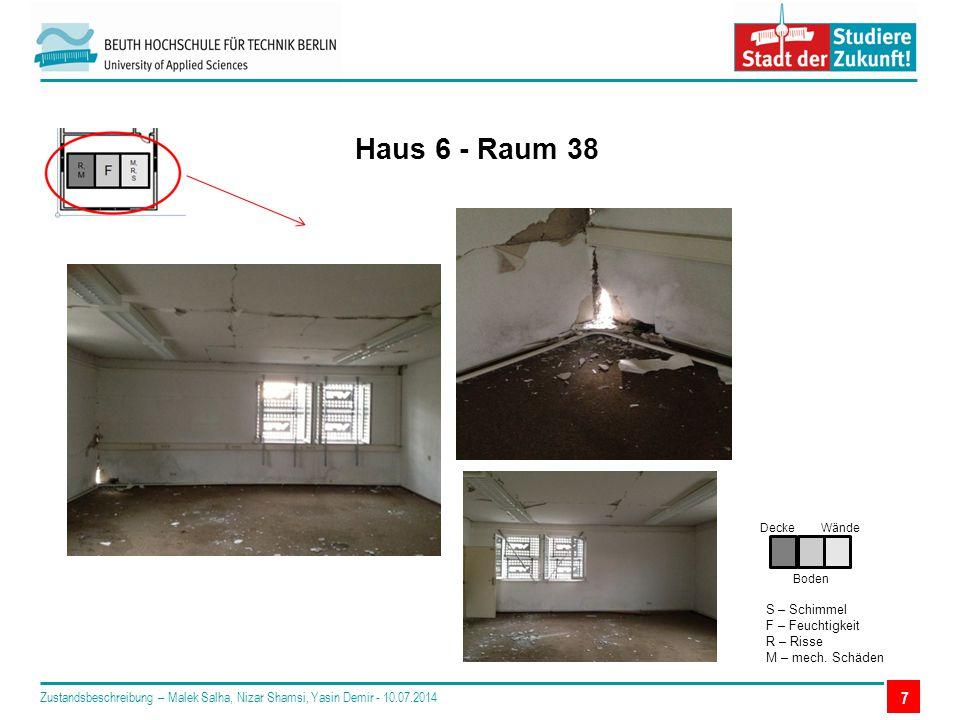 7 Haus 6 - Raum 38 Decke Boden Wände S – Schimmel F – Feuchtigkeit R – Risse M – mech.