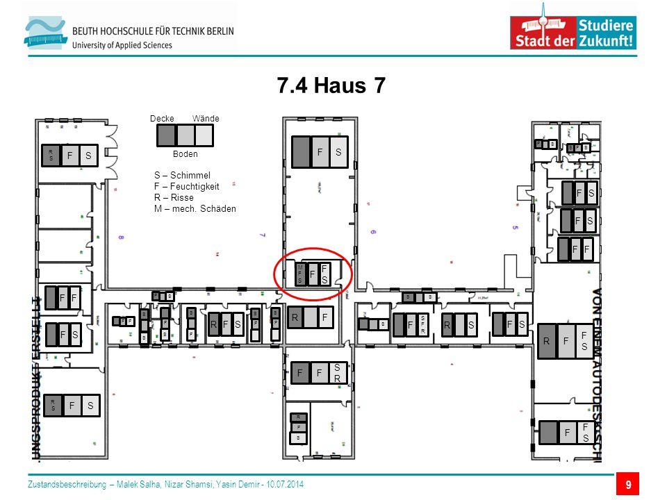 9 7.4 Haus 7 Decke Boden Wände S – Schimmel F – Feuchtigkeit R – Risse M – mech.